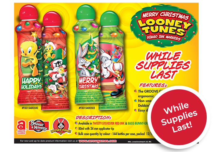 Looney Tunes Christmas ink bottles