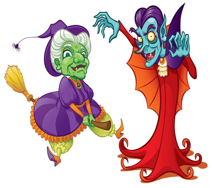 Halloween Witch and Dracula